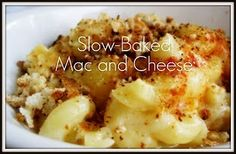 Slow-Baked Mac and Cheese- I love crockpot cooking. It's far more difficult to burn things in a crockpot. Crock Pot Recipes, Crock Pot Cooking, Crock Pot Slow Cooker, Slow Cooker Recipes, Cooking Tips, Cooking Recipes, Cheese Recipes, Crockpot Ideas, Crockpot Dishes