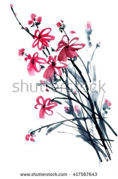 Peony flower. Watercolor and ink illustration in style gohua, sumi-e, u-sin of chrysanthemum bouquet. Oriental traditional painting