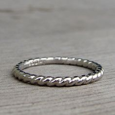 Recycled 950 Palladium Twist / Braided / Rope Wedding Band or Stackable Ring, Made To Order