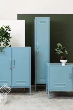 Mustard Made Ocean Blue Locker Storage from Urban Outfitters (affiliate partner) Industrial Home Offices, Industrial Interior Design, Spare Room Home Office Ideas, Crate Storage, Locker Storage, Blackout Eyelet Curtains, Urban Outfitters, Shades Of Light Blue, Blue Furniture