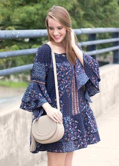 Leaves are Falling Dress   Women's Fashion   Fall 2016   Style Trends   Floral   Navy   Ruffled   Flowy   Blue   www.sabiboutique.com    http://www.sabiboutique.com/collections/new-arrivals/products/leaves-are-falling-dress