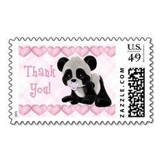 Pacified Panda Thank You Postage Stamps! Make your own stamps more personal to celebrate the arrival of a new baby. Just add your photos and words to this great design.