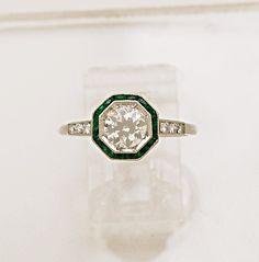 Diamond, Emerald & Platinum Art Deco Ring