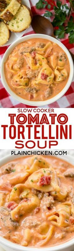Slow Cooker Tomato Tortellini Soup - seriously delicious! Everyone LOVED this no-fuss soup recipe. Just dump everything in the slow cooker and let it work its magic. Serve soup with some crusty bread for an easy weeknight meal the whole family will enjoy! Chicken broth, tomato soup, diced tomatoes, Italian sausage, chive and onion cream cheese and cheese tortellini combine to make THE BEST tomato soup EVER!