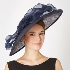 J by Jasper Conran Designer navy satin bow saucer fascinator- at Debenhams.com