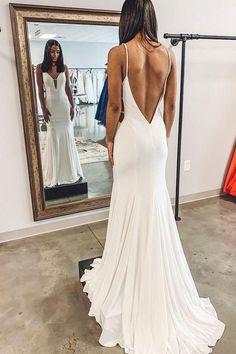 Wedding dresses - Simple Mermaid White Long Wedding Dress with – Wedding dresses Luxury Wedding Dress, Classic Wedding Dress, Backless Wedding, Long Wedding Dresses, Wedding Gowns, Simple Sexy Wedding Dresses, Party Dresses, Lace Wedding, Knot Dress
