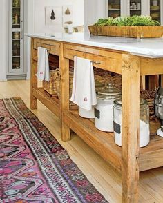 """2,748 Likes, 18 Comments - Lucy Rose (@birdie_farm) on Instagram: """"Oh my stars this kitchen island!  It looks to be an antique table turned island, and its just…"""""""