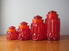 LE Smith Amberina Red Moon and Stars Canister Set of 4 Excellent Condition Vintage Canister Sets, Vintage Dishes, Vintage Pyrex, Glass Canisters, Glass Jars, Vintage Kitchen Accessories, Green Moon, Star Lamp, Vintage Moon