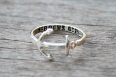 CHRISTMAS GIFT SALE Personalized Anchor Sterling silver ring - Hebrews 6:19 Navy - Usn - Military - Customizable - Anchors - Anchor Jewelry