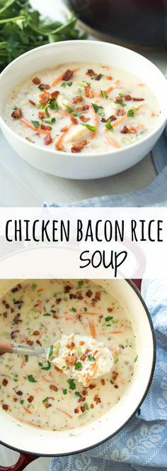 This thick, creamy, Chicken Bacon Rice Soup is so easy to make and comes together quickly in one pot! (One Pot Creamy Chicken) Chowder Recipes, Chili Recipes, Healthy Chicken Recipes, Cooking Recipes, Quick Soup Recipes, Creamy Soup Recipes, Quick And Easy Soup, Healthy Soup, Chicken Bacon