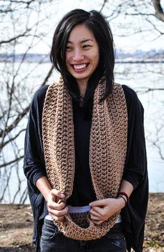Willow Crochet Cowl Tan Chunky Infinity by courtneyannabanana, $40.00