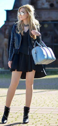 Asos Black Asymmetric Skater Skirt by Oh My Vogue