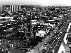 Aerial photo of Hoddle St Collingwood,Victoria and the Town Hall in 1974.