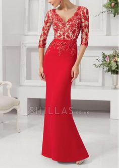 Red V-neck Top Appliques bottom chiffon Sweep Train Prom Dresses With 3/4 Sleeve - 1540347 - Long Prom Dresses