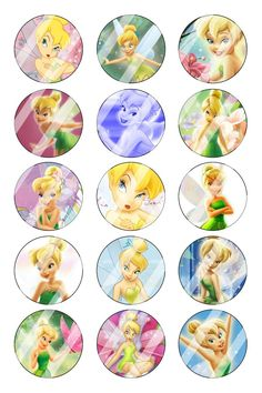 """Tinkerbell Bottle Cap 1"""" Circle Images Sheet #2 (instant download or pre cut)"""