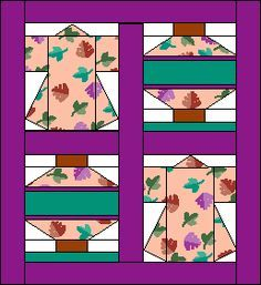 PDF Pattern, approx finished size x Oriental Lantern & Kimono Quilt Japanese Quilt Patterns, Japanese Patchwork, Paper Piecing Patterns, Quilt Block Patterns, Japanese Fabric, Quilt Blocks, Small Quilts, Mini Quilts, Quilting Projects