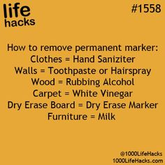 1000 Life Hacks - Picmia Cleaning tips remove permanent marker