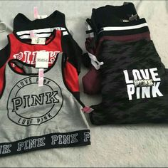 Pink bundle 3 and 3 Three bra tops 3 sweats all small one medium but fits like a small . PINK Victoria& Secret O… Sporty Outfits, Pink Outfits, Mode Outfits, Summer Outfits, Swag Outfits, Victoria Secret Outfits, Victoria Secret Pink, Victoria Secrets, Pink Love