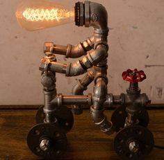 Designer Industrial Lighting Bike man Steampunk Lamp Table