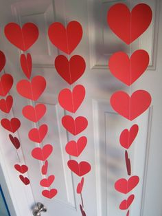 Valentine's Day Decorations, Red Hearts, Love Party Decorations, Paper Garland, Valentine's Garland, Heart Garland