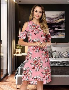 f605d7da993a BOHISEN Women s Summer Floral Print Cold Shoulder Casual Swing Tunic Dress  95%polyester+5. Summer Formal DressesVintage ...