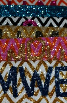 Monogram beaded bags. Obsessed with these.