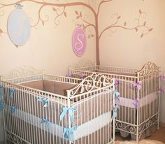 This sweet and classic, yet whimsical nursery for twins is such a great space, designed by @nurserydesigner!