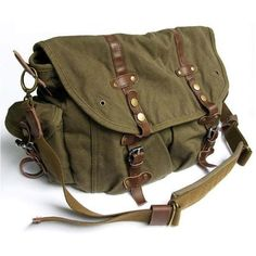 vintage bags/retro bags/leather bags/canvas/ diy/ fashion bags for man and woman Messenger Bags For School, Womens Messenger Bag, Vintage Messenger Bag, Canvas Messenger Bag, Vintage Canvas, Vintage Bags, Vintage Green, Bags Online Shopping, Brown Bags
