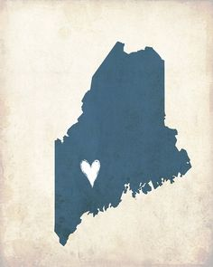 My Heart's in Maine8x10 Illustrated Print by sweetlyframed on Etsy, $15.00
