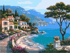Buy The Mediterranean Sea - DIY Paint By Number kit or check our new modern collections for adults paint by numbers. Relax and enjoy your canvas painting Seascape Paintings, Oil Painting On Canvas, Diy Painting, Landscape Paintings, Canvas Art, Canvas Size, Learn Painting, Acrylic Canvas, Beautiful Paintings