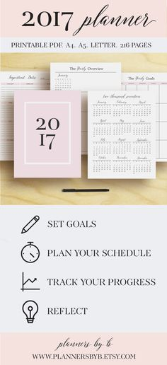 Click here for an updated 2017-2018 planner! → http://etsy.me/2t7fW6l ═════════ WHATS INCLUDED? ═════════ → 2017 Planner PDF (216 Pages) in sizes A4, A5, and LETTER. ❤ 2017 PLANNER → Cover Page → ID Page → 2017 at a Glance → Important Dates → Yearly Overview → Brainstorm Page →