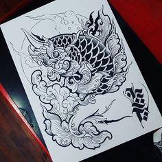 Fish Tattoos, Cool Tattoos, Black Dragon Tattoo, Thailand Tattoo, Thai Design, Flash Design, Thai Tattoo, Japanese Tattoo Art, Painting Tattoo