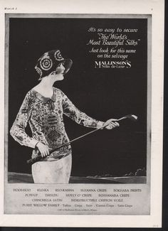 1923 ad, MALLINSON SILK FASHION, golf