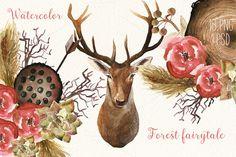 Watercolor forest fairytale by Spasibenko Art on @creativemarket