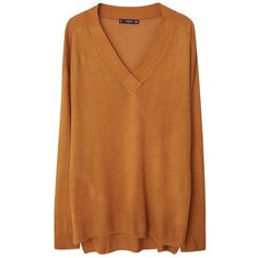 Mango V Neck Jumper, Medium Yellow (394.720 IDR) ❤ liked on Polyvore featuring tops, sweaters, lightweight sweaters, brown v neck sweater, yellow jumper, v neck jumper and long sleeve v neck sweater