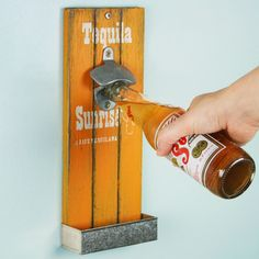 Mexican Style Wall Mounted Bottle Opener 30cm Tequila Sunrise | Wooden Bottle Opener Cap Catcher Bottle Opener - Buy at drinkstuff
