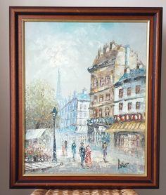 Vintage Original Oil On Canvas Painting Signed Burnett Paris Street Scene France