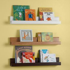 $22 - For above the headboard, figurines fit perfect! The Land of Nod | Kids Wall Racks: Kids Wooden Book Wall Ledge in Shelf & Wall Storage