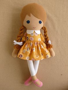 Fabric Doll Rag Doll Light Brown Haired Girl with Yellow Floral Dress and White Leggings Fabric Dolls, Paper Dolls, Girl Dolls, Baby Dolls, Yellow Floral Dress, Floral Dresses, Sewing Dolls, Brown Girl, Soft Dolls