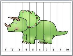 Number Puzzles for Kids - Dinosaur Math by Marcia Murphy Dinosaur Worksheets, Dinosaur Activities, Dinosaur Crafts, Preschool Worksheets, Book Activities, Toddler Activities, Preschool Activities, Dinosaur Puzzles, Puzzles Für Kinder