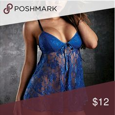 """Sexy Blue Babydoll and g-string Please Hand-wash only      Material: polyester and Lace      Size: One size only(Tiled)(approx)      Dress length : 70cm(approx)      Chest length:31cm/12.2""""(approx)      G-string length:32cm/12.5(approx)     Package Included:  1 x Sexy Lingerie + G-string Intimates & Sleepwear Chemises & Slips"""