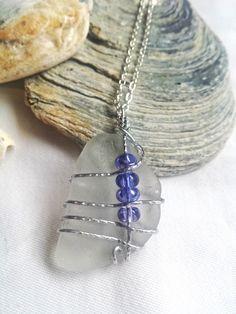 £14.99 Unique large sea glass pendant necklace