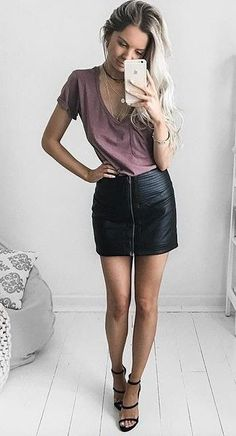 simple and chic amazing purple top + black leather mini skirt