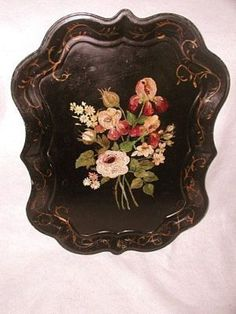 Large Tole Tray Signed France Early 1900's Unusual