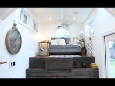 This is a Vintage Glam Tiny House created by Tiny Heirloom for a Portland couple. It has a sneaky pull-out bed! You are invited to come check it out! Vintage Glam, House Slide, Tiny House Interior, House Styles, Home Decor, House Interior, Bedroom Decor, Raised House, Little Houses