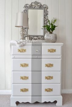 Like the idea of white & metallic /DIY thrift store dresser makeover! Furniture, Redo Furniture, Painted Furniture, Upcycled Furniture, Diy Home Decor, Refinishing Furniture, Home Decor, Furniture Making, Furniture Inspiration