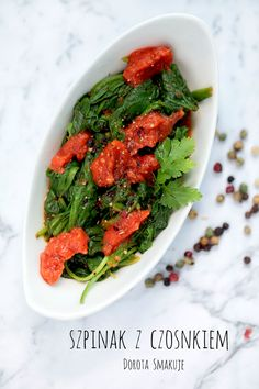 Szpinak z czosnkiem i pomidorami - post Daniela - Dorota Smakuje Seaweed Salad, Nutella, Spinach, Ab Challenge, Ethnic Recipes, Food, Crunch Challenge, Essen, Meals