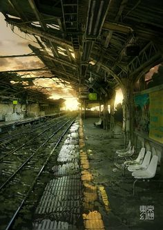 some abandoned places are truly stunningly beautiful. Some of theme were once a busy and crowded place or workplace 38 Creepy Abandoned Places Art Apocalypse, Apocalypse Landscape, Apocalypse Aesthetic, Apocalypse World, Post Apocalyptic City, Abandoned Train Station, Environment Concept Art, Anime Scenery, End Of The World