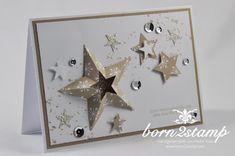 STAMPIN' UP! born2stamp Weihnachtskarte Framelits Stern-Kollektion Itty bitty Akzente Pailletten Eiszauber Aus dem Haeuschen Gorgeous Grunge DSP Festlich geschmueckt