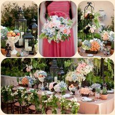 Wedding Reception- garden wedding, vintage lamps, ivy chair decorations www.aboutdetailsdetails.com